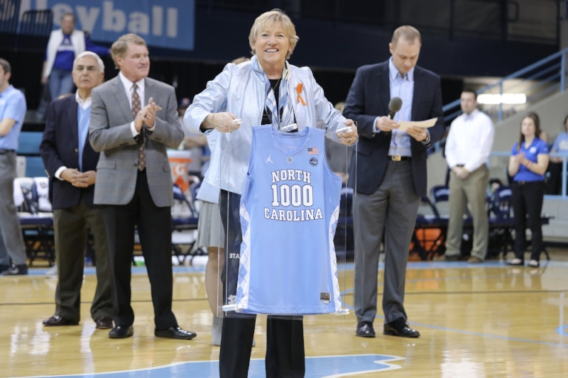 Before Sunday's win, head coach Sylvia Hatchell was honored for reaching 1,000 career wins in late 2017. | Photo by Caleb Jones