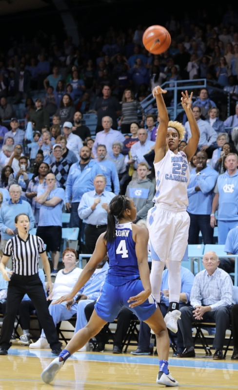 Paris Kea (22) drills the game-tying three-pointer in regulation over Duke's Lexie Brown, the ACC Preseason Player of the Year. | Photo by Caleb Jones