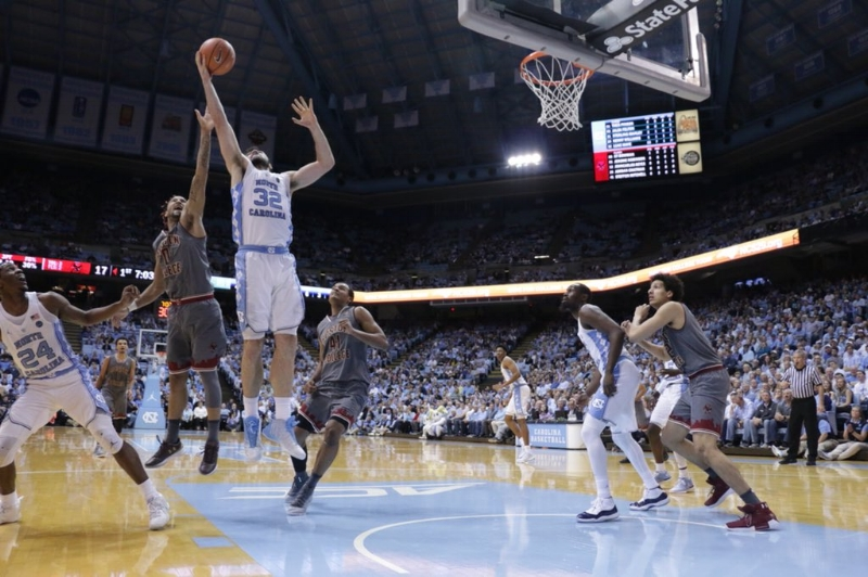 Luke Maye (32) is in an exclusive club of double-digit rebounders at UNC in the Roy Williams era. He helped this case this year with a career-high 18 rebounds against Boston College on Jan. 9. | Photo by Gabi Palacio