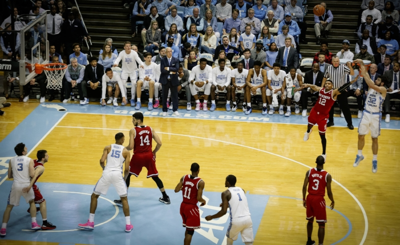 The Tar Heels couldn't shoot or defend the three-point shot in Saturday's loss. Only Luke Maye (32) made more than one shot from deep. | Photo by Smith Hardy