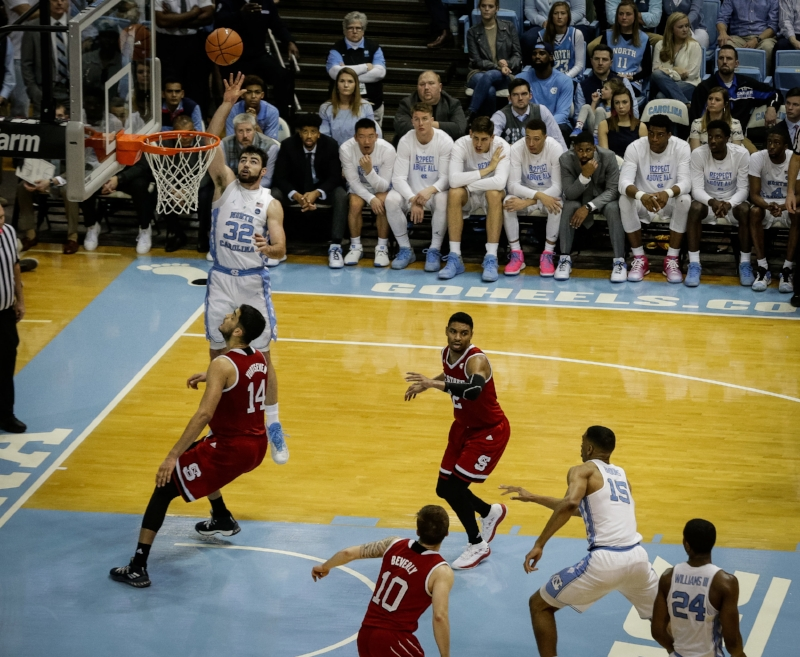Luke Maye (32) led all scorers with 31 points, but even that wasn't enough to overcome the Wolfpack's torrid shooting. | Photo by Smith Hardy