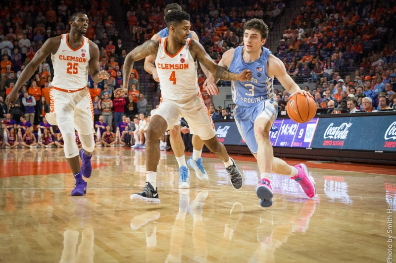 A shorthanded roster for UNC means more minutes for players such as Andrew Platek (3), who went scoreless in 15 minutes on Tuesday. | Photo by Smith Hardy