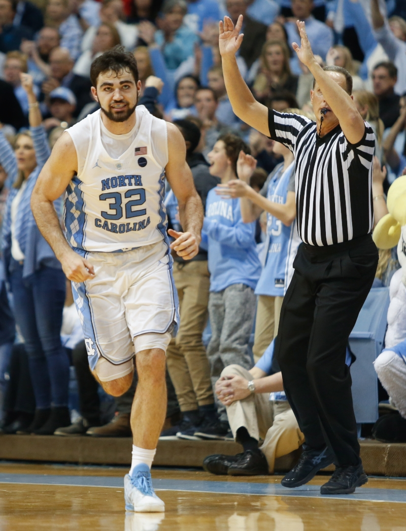 It was another bounce-back performance for Luke Maye (32), who recovered from a four-point night at Clemson to score 26 points against Pittsburgh on Saturday. | Photo by Alex Kormann