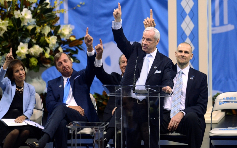 At Dean Smith's memorial service in the days after his death, former assistant Roy Williams and others were quick to point the passer who had so often guided their lives. | Photo courtesy UNC Athletic Communications