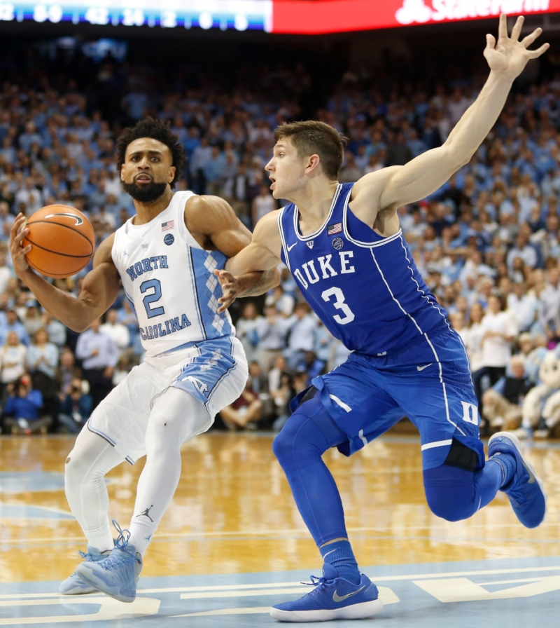 Joel Berry (2) scored a game-high 21 points as Grayson Allen (3) finished with just nine points. | Photo by Alex Kormann