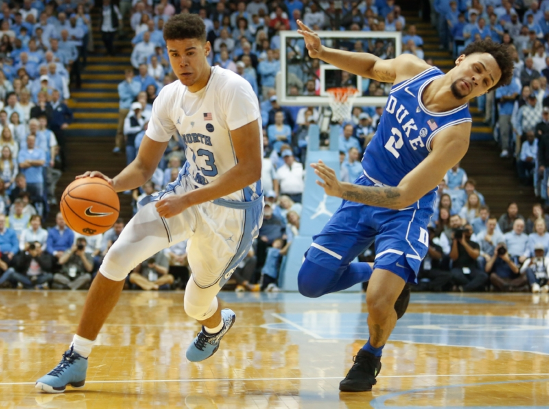 Cameron Johnson (13) finished with 18 points, two more than Duke leading scorer Gary Trent (2) had in UNC's 82-78 win on Thursday. | Photo by Alex Kormann