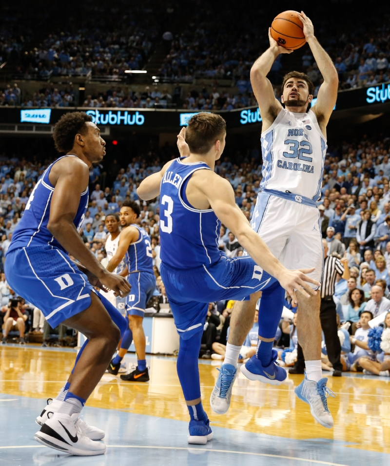 Luke Maye (32) didn't have his best game, but his 15 points and eight rebounds were enough to bolster UNC's inside attack against Duke. | Photo by Alex Kormann