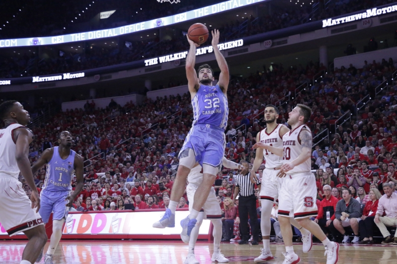 Luke Maye (32) set his career high almost a year ago in this building. In Saturday's win over N.C. State, he nearly tripled it. | Photo by Gabi Palacio
