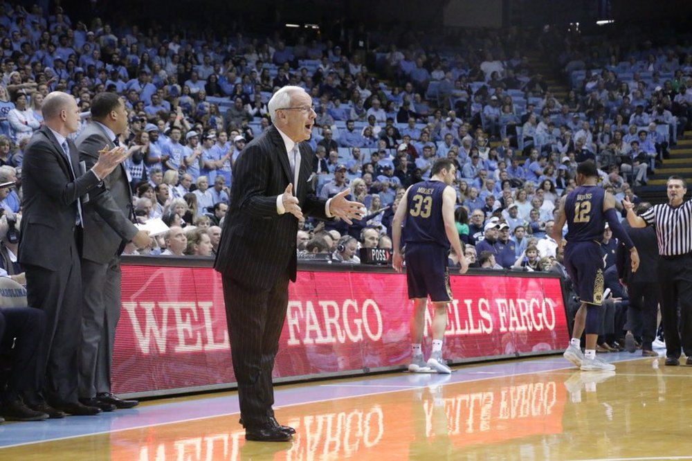 Roy Williams (above) replaced his typically quaint vocabulary for some old-fashioned curse words in the locker room on Monday. It worked, sparking UNC in its win over Notre Dame. | Photo by Gabi Palacio