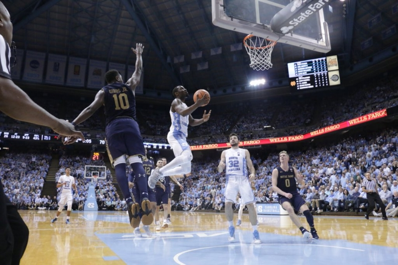 Theo Pinson (1) scored 11 of UNC's 16 points during a second-half run to pull away from Notre Dame. He also led the Tar Heels in rebounds (10) and assists (five). | Photo by Gabi Palacio