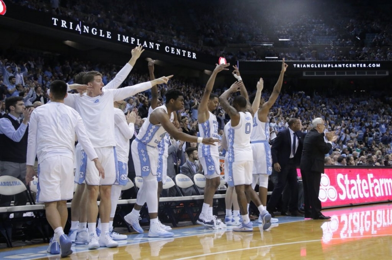 The Tar Heel bench had plenty of reasons to celebrate on Monday, as UNC bested Notre Dame in almost every major statistical category. | Photo by Gabi Palacio
