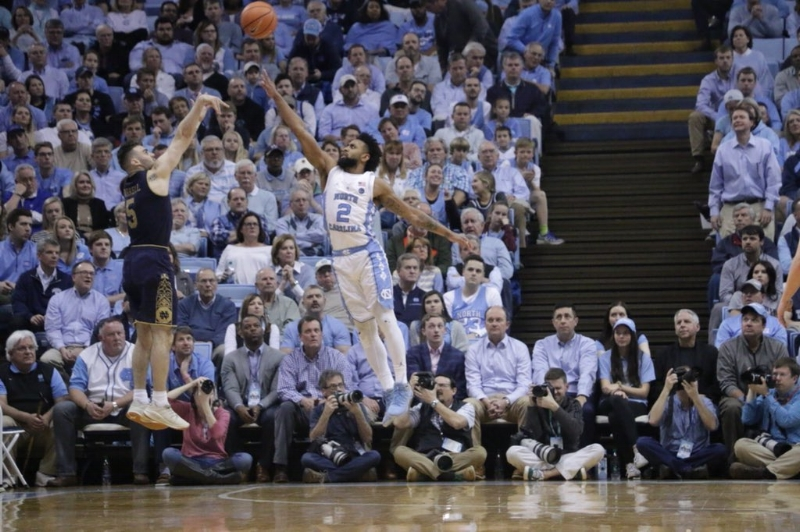 Joel Berry (2) scored 21 points in Monday's win over Notre Dame, and he held Matt Farrell (5) to just one made three-pointer on 12 attempts. | Photo by Gabi Palacio