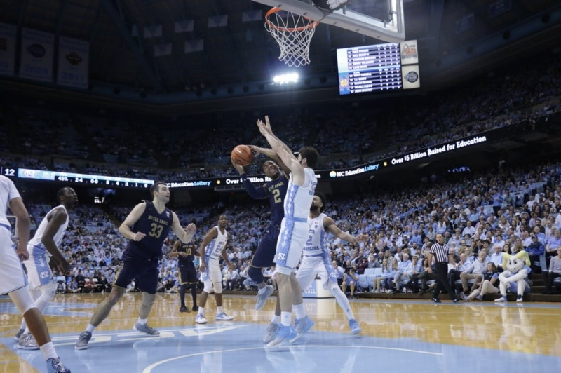 The Tar Heels turned up their defensive intensity on Monday, holding Notre Dame to just three points in the final 5:47 of the second half. It was reminiscent of the stifling UNC defenses from the past two seasons. | Photo by Gabi Palacio