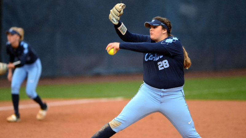 Brittany Pickett delivers a pitch on Saturday in the ACC/Big Ten Challenge. The 2017 ACC Freshman of the year has picked up right where she left off in the circle, averaging 5.60 strikeouts/per seven innings. | Photo courtesy Jeffery A. Camarati (UNC Athletic Communications)