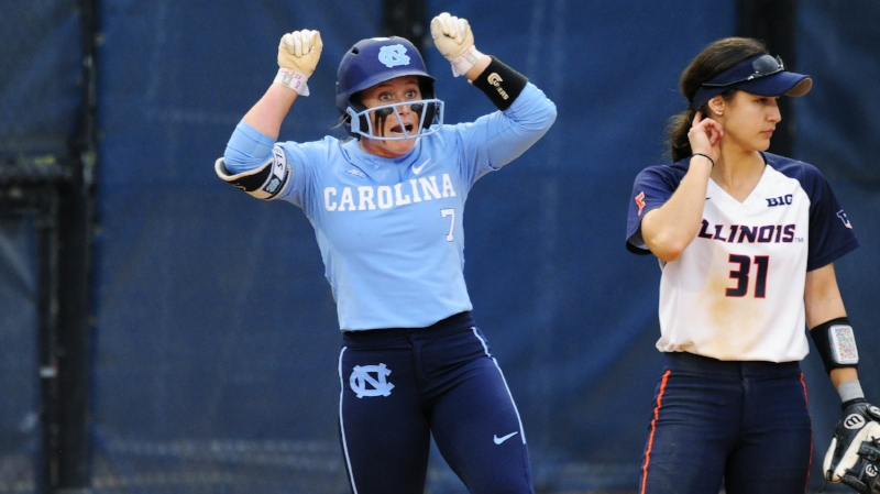 Taylor Wike celebrates after hitting a single against Illinois. The senior shortstop has started the season on a torrid pace at the plate,  hitting .385 through nine games with two home runs. | Photo courtesy Jeffery A. Camarati (UNC Athletic Communications)