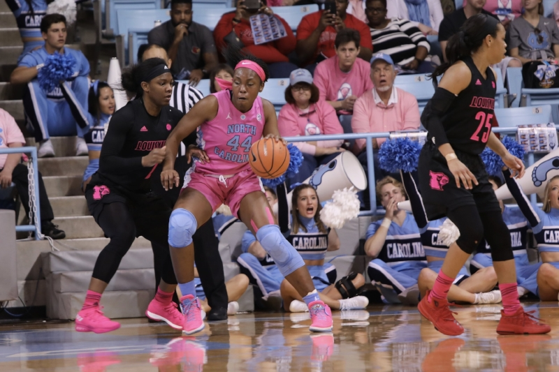 Janelle Bailey (44) was key for a Tar Heel team that led Louisville until the final quarter. | Photo by Caleb Jones