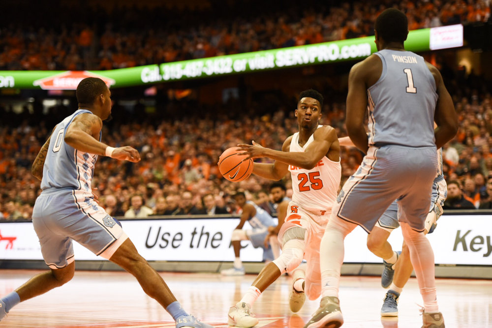 Theo Pinson (1) made the right decisions Wednesday in UNC's road win over Syracuse. The Tar Heels will need more of that to reach a third straight Final Four. | Photo courtesy The Daily Orange