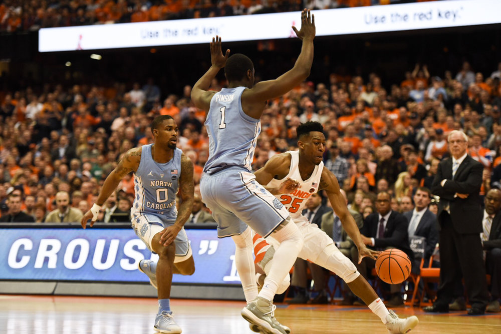 Theo Pinson (1) has always made his name as a long defender and crafty offensive player. But he's reaching his ceiling at just the right time for a surging UNC team. | Photo courtesy The Daily Orange