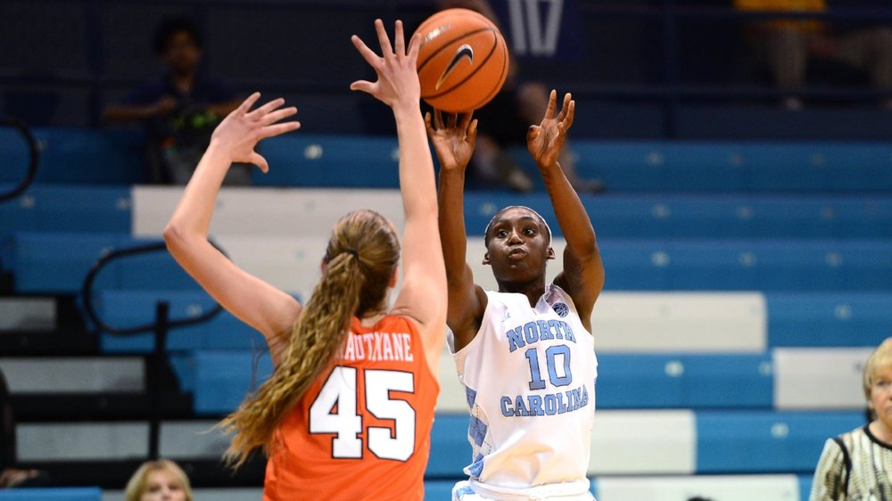 Jamie Cherry (10) never stopped shooting in Thursday's loss to Syracuse — or at any point throughout her four-year career, even when the team crumbled around her. | Photo courtesy Jeffrey A. Camarati (UNC Athletic Communications)