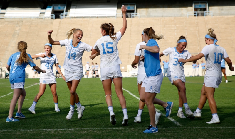UNC celebrates after the alma mater is played following their victory over Maryland. The No. 7 Tar Heels improved to 3-1 with the victory, and face No. 3 Florida next Saturday at home. | Photo by Alex Kormann