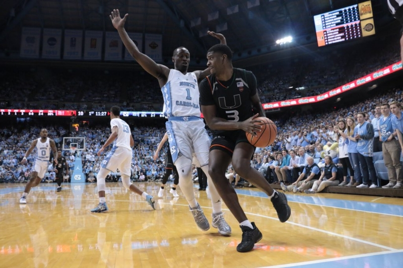 Theo Pinson (1) dished a career-high 11 assists and played stout defense at times in Tuesday's loss to Miami. But the pressure got to him and the rest of the Tar Heels, who couldn't quite overcome a 16-point deficit on senior night. | Photo by Gabi Palacio