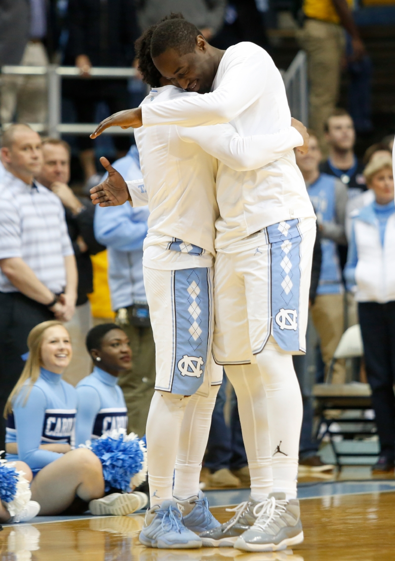 Joel Berry (left) and Theo Pinson have won 52 games at home in their four-year careers. More importantly, they've won two ACC championships, appeared in two national title games and hung a championship banner in the Smith Center. | Photo by Alex Kormann