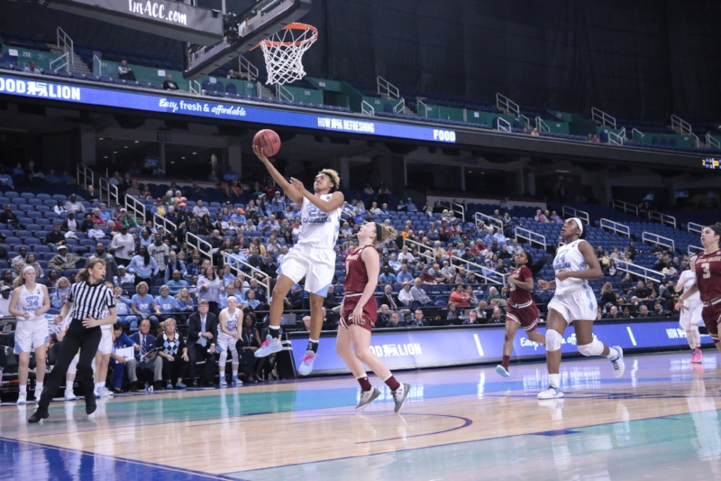 Paris Kea (22) dropped 28 points in her first game in the Greensboro Coliseum, leading UNC to its second postseason win in as many years. | Photo by Gabi Palacio