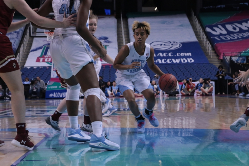 Paris Kea (22) grew up watching her cousin play ACC Tournament games in the Greensboro Coliseum. On Wednesday, it was her turn to lead UNC in this building. | Photo by Gabi Palacio