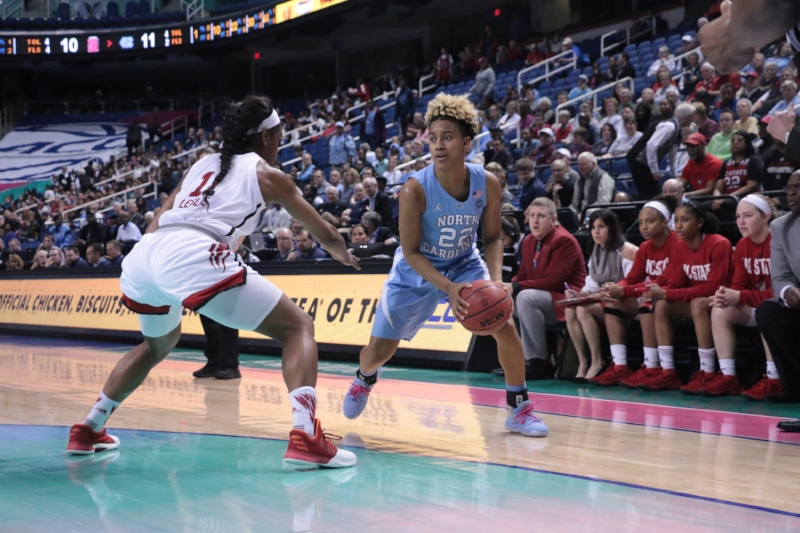 Paris Kea (22) made a living from the left wing in the first half of each ACC Tournament game for UNC. But in Thursday's loss to N.C. State, the All-ACC first-team guard went cold in the second half. | Photo by Gabi Palacio