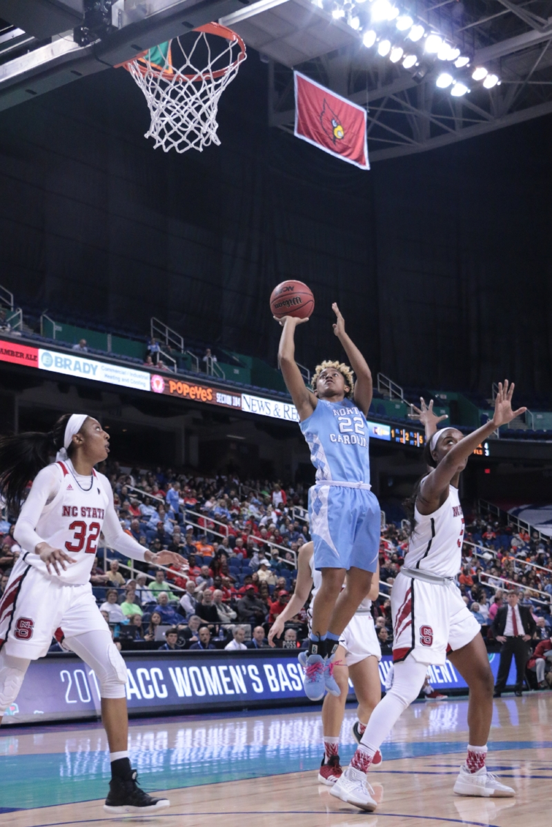 Paris Kea (22) scored 55 combined points in her two ACC Tournament games in Greensboro. But it's the missed shots, both on Thursday and throughout the season, that will linger for the UNC guard. | Photo by Gabi Palacio