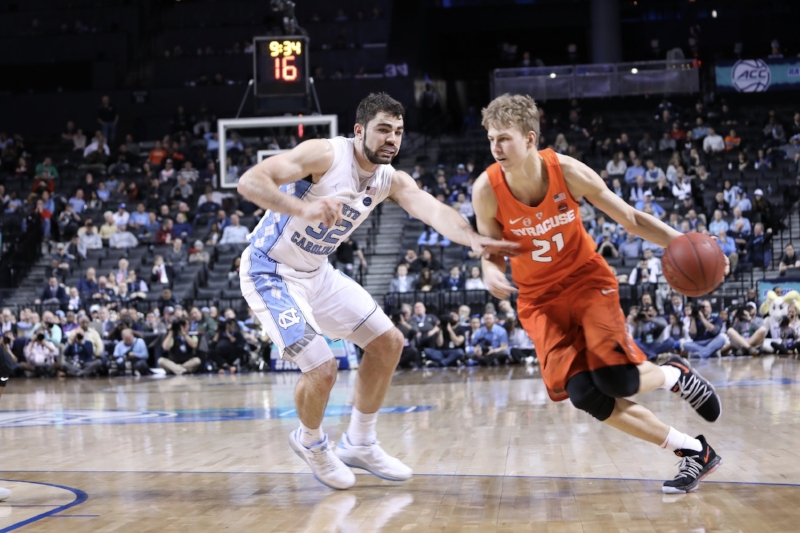 Everybody, even big guys such as Luke Maye, were tasked with staying in front of their man for UNC's defense, which help Syracuse to 59 points in Wednesday's win. | Photo by Caleb Jones