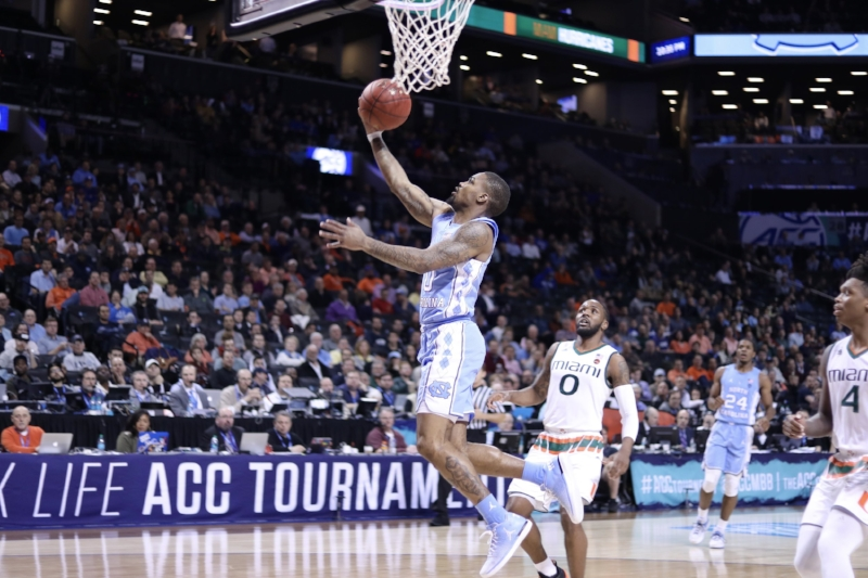 Seventh Woods (0) only made one shot in UNC's win over Miami in Thursday's ACC Tournament semifinal. But it was a big one, scoring the first points of the game and digging the Tar Heels out of offensive futility. | Photo by Caleb Jones