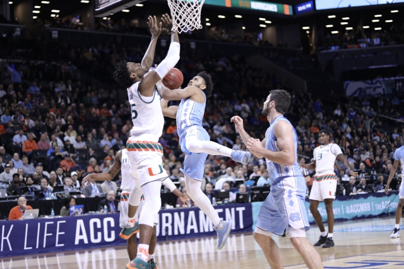 Joel Berry (2) had his senior night spoiled by Miami on a buzzer-beating three from halfcourt. In Thursday's ACC Tournament quarterfinal, the UNC senior got his revenge. | Photo by Caleb Jones