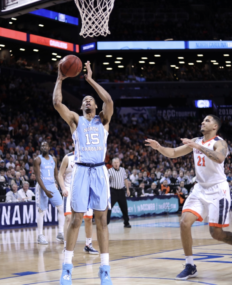 After a strong outing on Friday, Garrison Brooks (15) missed a critical layup late in Saturday's loss to Virginia that hurt momentum for UNC. | Photo by Caleb Jones