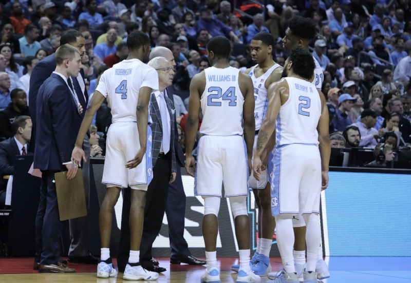 Last year, Kenny Williams (24) had to watch from the bench as his UNC teammates claimed the national title. On Friday against Lipscomb, he was leading them. | Photo by Caleb Jones
