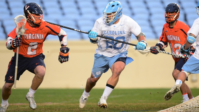 Cam Macri, brother of Ryan Macri (20), put UNC up early on Virginia. But much like during this season and two-year stretch, it came crashing down fast for the Tar Heels, who were left searching for answers. | Photo credit Jeffrey A. Camarati (UNC Athletic Communications)
