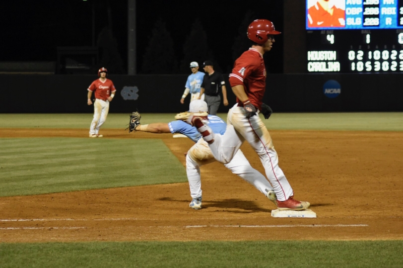 Michael Busch stretches to record the putout at first base. The sophomore was named the regionals Most Outstanding Player after going 7-for-11 at the plate with 1 HR and 9 RBIs and 1.000 fielding position at first base. | Photo by Turner Walston