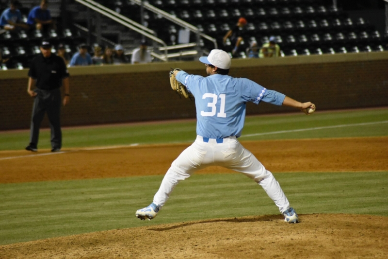 Josh Hiatt delivers a pitch to the batter in Sunday night's game against Houston. The sophomore righty was one of UNC's most effective relievers out of the pen this weekend, throwing three innings on one run ball to earn the save in Saturday's 4-3 win over the Cougars. | Photo by Turner Walston
