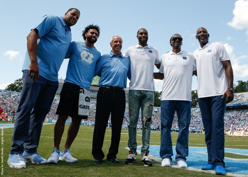 Roy Williams poses with UNC's five winners of the Final Four's Most Outstanding Player, including three of his own players (Sean May, Wayne Ellington, and Joel Berry II) | Photo by Smith Hardy