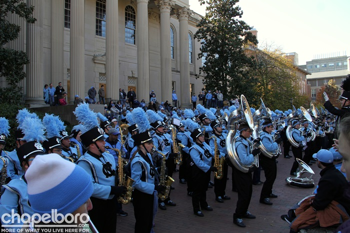 The steps of Wilson Library is a staple of the Marching Tar Heels' game day performances. It's also the best place to hear 'The Blue and White' chorale. (Photo courtesy of Chapelboro.com)