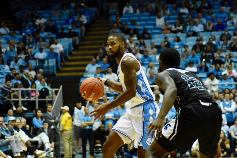 Seventh Woods sets up the offense against Mount Olive. The junior guard had eight points and two assists, but also four turnovers against the Trojans. | Photo by Turner Walston
