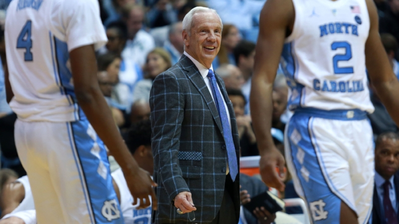 Roy Williams smiles in the middle of UNC's victory over Tennessee Tech on Friday Night. It was UNC's 200th non-conference win in the Dean E. Smith Center. | Photo by Alex Kormann