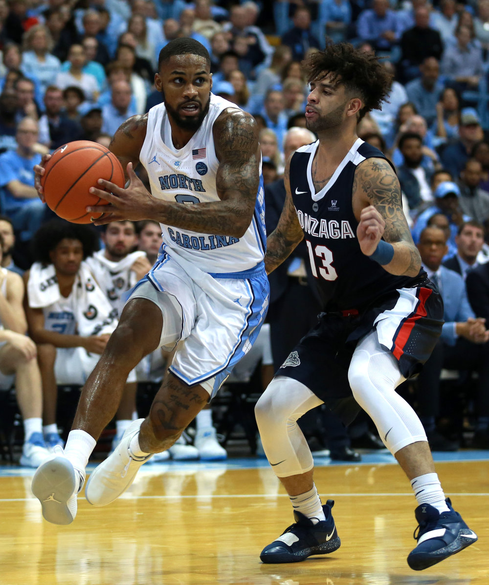 Rebounding isn't just for forwards. Junior guard Seventh Woods, in addition to his career high 14 points, also snagged four rebounds for the Tar Heels. | Photo by Alex Kormann