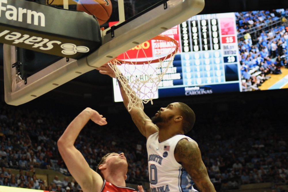 Seventh Woods rejects a layup late in the first half. The block was a spark for the junior guard, who played solid defensively in limited minutes off the bench. | Photo by Turner Walston.