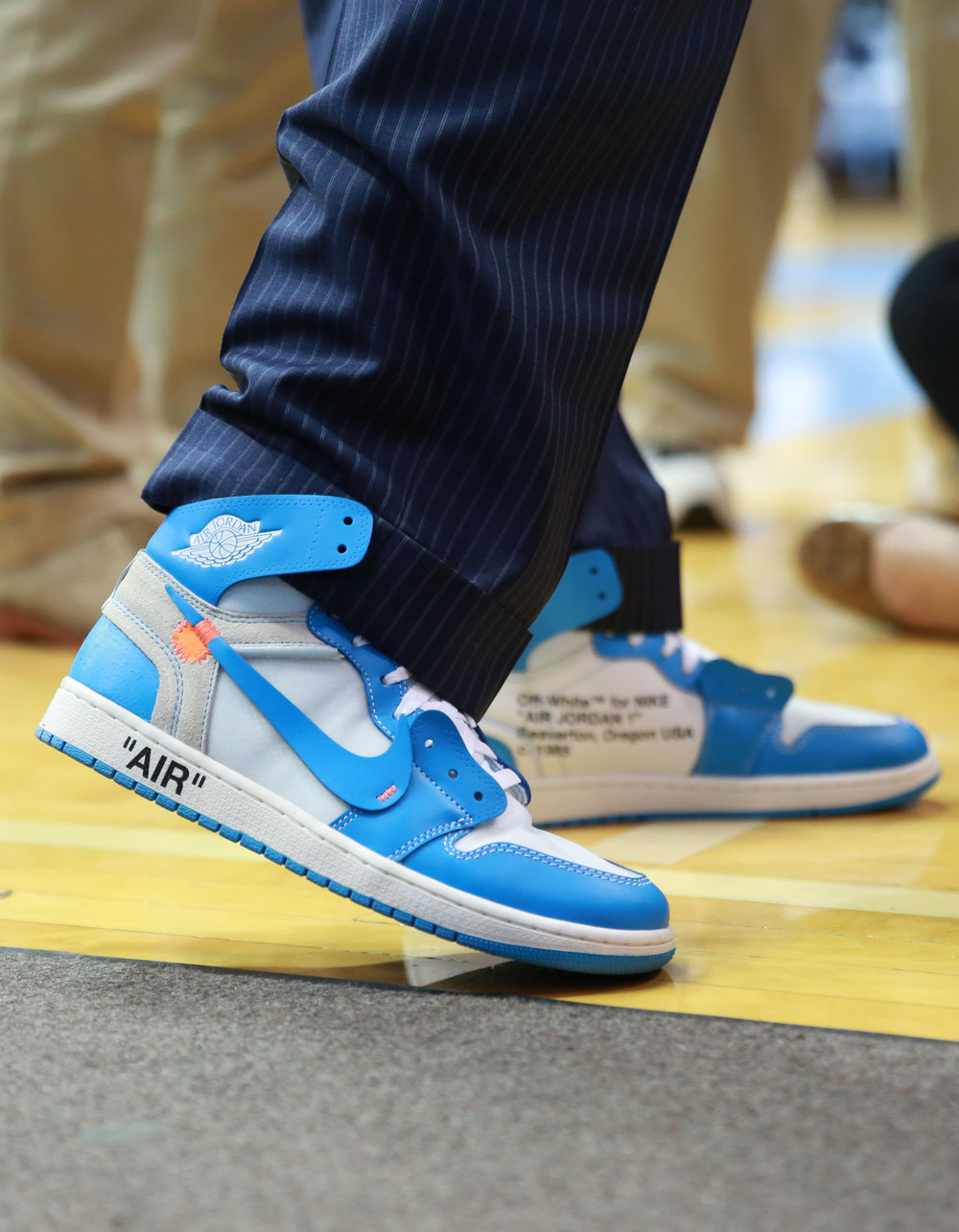 The aforementioned Off-White Air Jordan 1's worn by Roy Williams for Coaches v, Cancer. | Photo by Alex Kormann