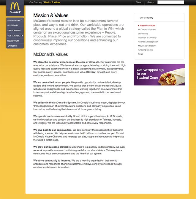 McDonalds brand values. Clear and straightforward but dull