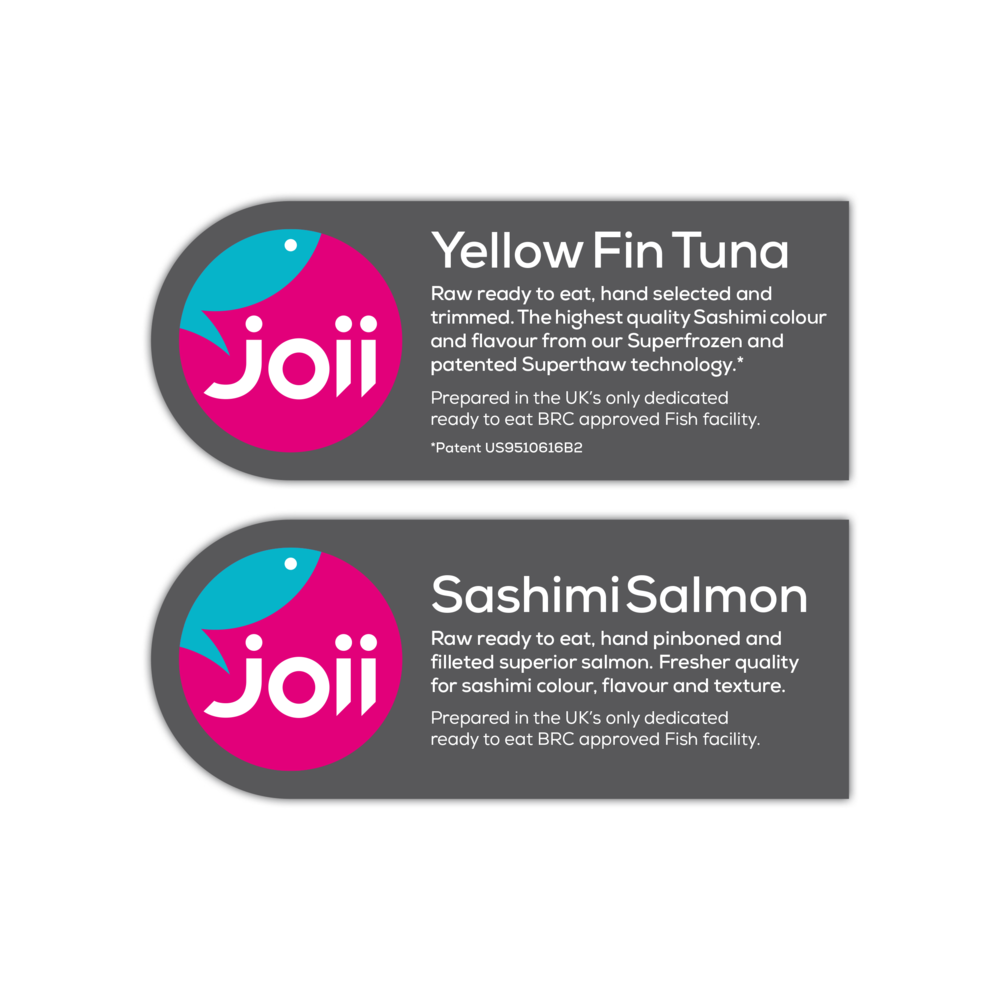 Packaging labels for fresh frozen Tuna and Salmon cuts