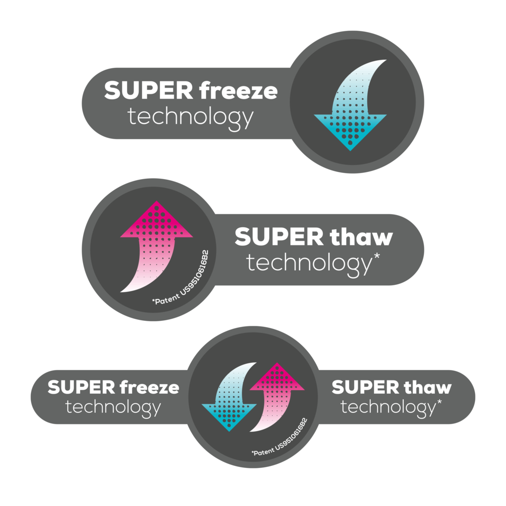 Sub-brand logo designs for Joii's patented Super Freeze / Super Thaw technology. The logo had to work in three ways – displaying Super Freeze and Thaw and well as Super Freeze and Super Thaw separately