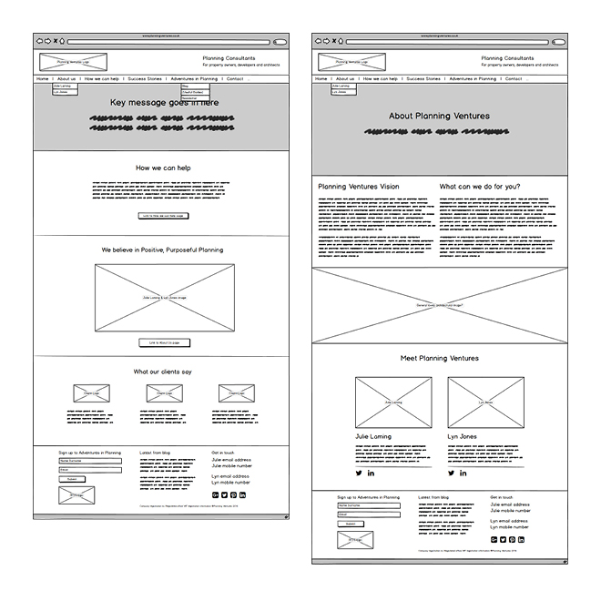 'Home' page and 'About' page wireframes