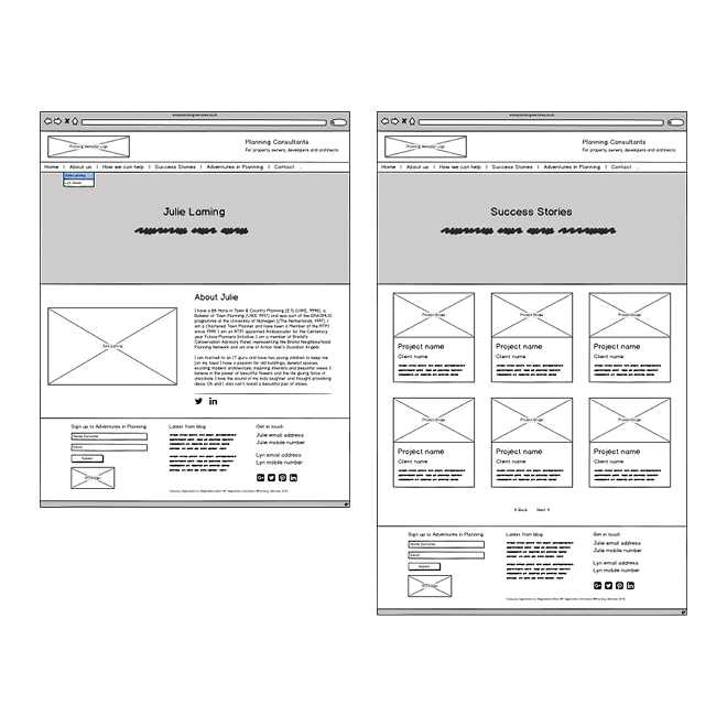'About Julie' page and 'Success Stories' page wireframes